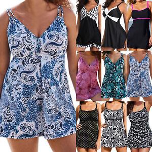 Plus Size Ladies Swimdress Swimsuit Padded Tankini Monokini Swimwear Beachwear