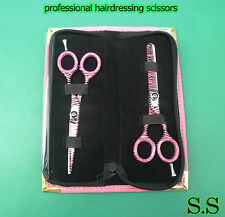 "professional Hairdressing Scissors Hair Shears6"" Thinner Set Pink+ Case S.S-0085"
