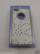 for Iphone 5 phone case bling white and silvertone flower leaf print
