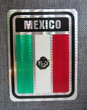 """Mexico Flag Reflective Sticker, Coated Finish, 4"""" X 3"""", Multipurpose, Decal"""