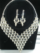 Diamante set - Faux Pearl & Diamante Necklace & earrings set wedding prom set 3