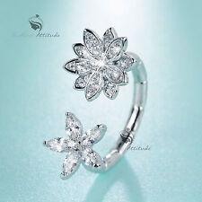18K White Gold lotus flower blossom Simulated Diamond between finger open ring