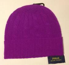 Ralph Lauren Cable-Knit Cashmere Hat Purple NWT $88