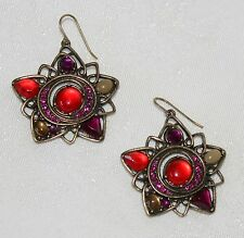"""Red Yellow Pink  2"""" Floral Earrings NEW Antiqued Goldtone Designer CN from HSN"""