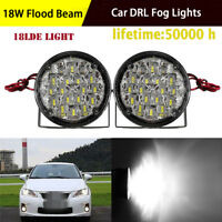 Pair 3.3'' Round LED Fog Light 18W Flood Offroad Driving Work 4x4 Truck SUV
