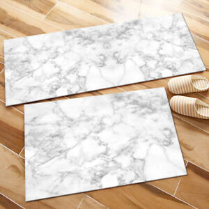 White & Grey Marble Texture Design Kitchen Area Rugs Living Room Floor Mat Rug