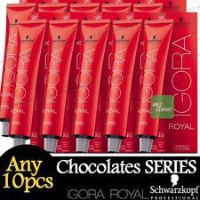 Any 10pcs Schwarzkopf IGORA ROYAL Permanent Colour Hair Dye Chocolate Series 60g