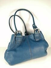Tignanello Leather Grab Bag / Handbags in Dark Blue Silver Buckles
