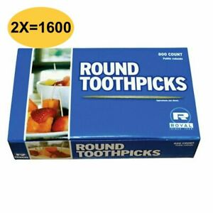 TOOTHPICKS- ROYAL ROUND TOOTHPICKS 1600 Ct (2 PACKS OF 800) QUALITY ORAL CARE