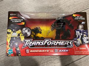 Transformers Robots In Disguise Sideways Figure vs. Axer Figure 2001 NIB
