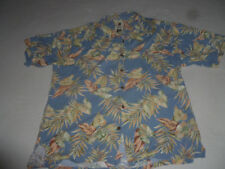 HONOLULU TORI RICHARD HAWAIIAN BUTTON UP SHIRT MENS SIZE LARGE FROND LEAVES BLUE