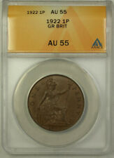 1922 Great Britain 1 Penny Coin King George V ANACS AU 55