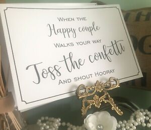 Toss the Confetti Sign A4 Vintage, cream or white. Wedding / Party