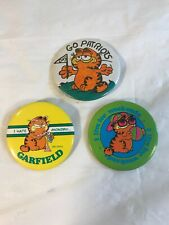 Lot Of 3 Vintage Garfield Buttons Pins 1980s Go Patriots! I hate monday.