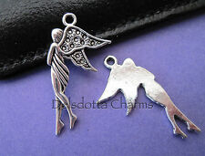 5 FAIRY/ANGEL CHARMS 30mm SILVER TONE METAL JEWELLERY MAKING PENDANTS(E2)