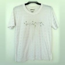 Ladies WHITE Silver Embroidery T Shirt Millers Size 10 12 * Check measurements