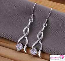 925 Sterling Silver Twisted Drop/dangle Round Crystal Earrings CZ Cubic Zirconia