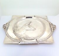 .Art Nouveau German Silver Plate Deer Theme & Garland Wall Plaque Stamped 331