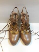 Max Studio Women's Tan Leather Lace Up Round Toe Heels Pumps Size 5.5