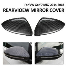 2X Carbon Fiber Rearview Mirror Cover Trim Auto NEW For VW Golf 7 MK7 2014-2018