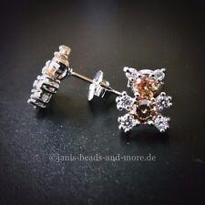 Zauberhafte Zirkonia Teddy Baer Ohrstecker II 925 Silber rhodiniert 11 x 9 mm