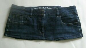 8 1/2 Inch Length Dark Blue Denim  Micro Mini Skirt - Plus Size 18