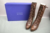 Stuart Weitzman Boots Type Cuero Oiled Nappa Brown Leather Size 10 Lace Up Front