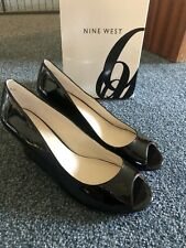 Nine West Negro Patente Peep Toe Cuñas sobrecarga de energía UK 6.5