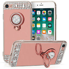 Rose Gold Mirror Bling Case For The New Apple iPhone 8 Ring Holder Stand Cover