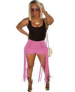 Fashion Casual Women Solid PU Leather Tassel Hem Shorts