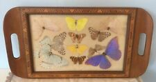 Vintage Inlayed Wooden Tray With Butterflies