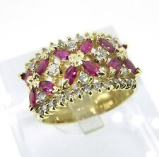 .48 ct tw Diamonds Round Cut 14k Yellow Gold 1.28 ct tw Rubys Cocktail Ring 7.75