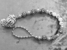 Silver Shamballa White Glitter Heart Personalised Crystal Bling Baby dummy clip