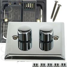 Chrome 2-Gang Dimmer Switche Home Electrical Fittings