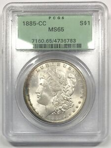 1885-CC Morgan Dollar - PCGS MS65 - Crescent Rainbow Toning - Better Date - OGH