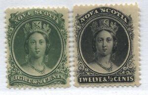 Nova Scotia QV 1860 8 1/2 and 12 1/2 cents mint o.g. hinged