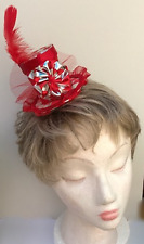 Red and Silver Harlequin, diamond patterned, mini Top hat Fascinator