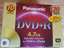 Part Box of 8 x Panasonic Recordable DVD+R 120 Min 4.7GB Blank Discs New Sealed