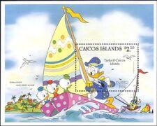 Caicos Islands 1984 Disney/Easter/Donald/Boats/Sailing/Cartoons 1v m/s (b3123a)