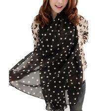 Women Fashion Scarf Dot Print Long Soft Chiffon Scarf Wraps Shawl Stole BK