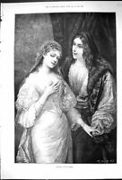 Original Old Antique Print 1894 Portrait Raphael Model Romance Man Lady 19th