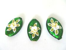 Murano Lampwork Tear Drop Glass Beads Gold Foil Green With Raised Flower Design