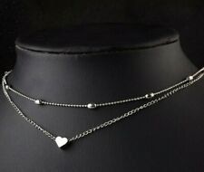 lady dress up silver bead girl Necklace chain with hearts sexy jewelry