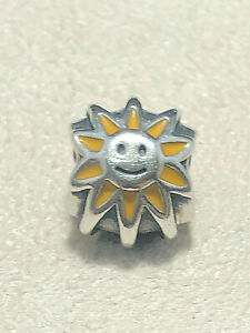 Authentic Pandora Smiling Sunshine Sterling Silver Enamel Charm 790532EN20
