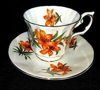 "Vintage Elizabethan Teacup Saucer Canadian Provincial Flower ""Prairie Lily"" Eng."