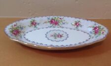 "Royal Albert Petit Point 8"" Relish Tray Dish Needlepoint Design Floral England"