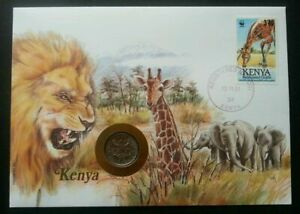 [SJ] Kenya Wild Animal 1991 Africa Lion Big Cat Giraffe Elephant FDC (coin cover