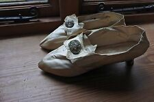 Antique womens silk shoes 1780 with buckles