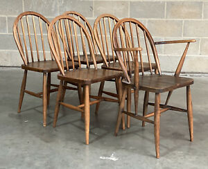 5 Mid Century Ercol Hoop Stick Back Dining Chairs Retro Beech DELIVERY*