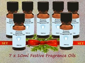 Festive Fragrance Oils Sets - 7 x 10ml - for Candles, Diffusers, Oil Burners etc